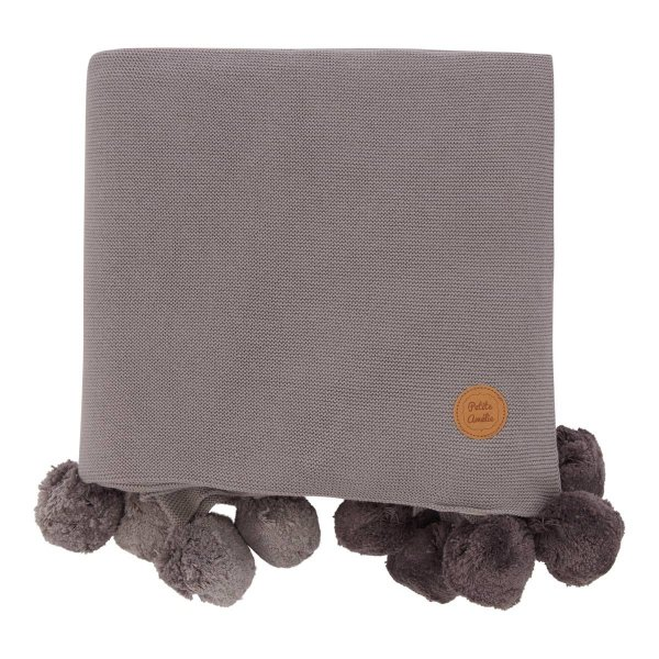 Baby Blanket Nursery Room Grey with Pom-Poms
