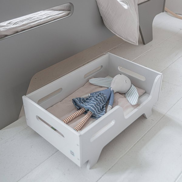 Dolls Bed Children's Toy in Grey Wood from Petite Amélie