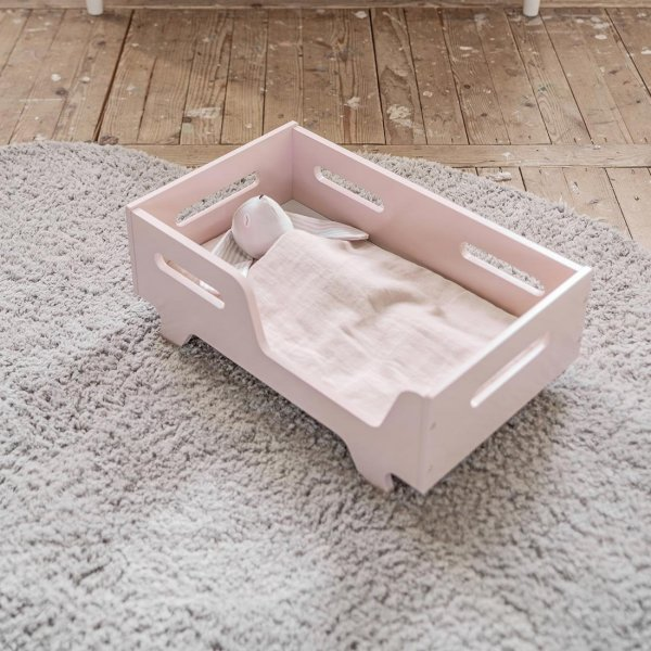Dolls Bed Colombe Pink Wood from Petite Amélie