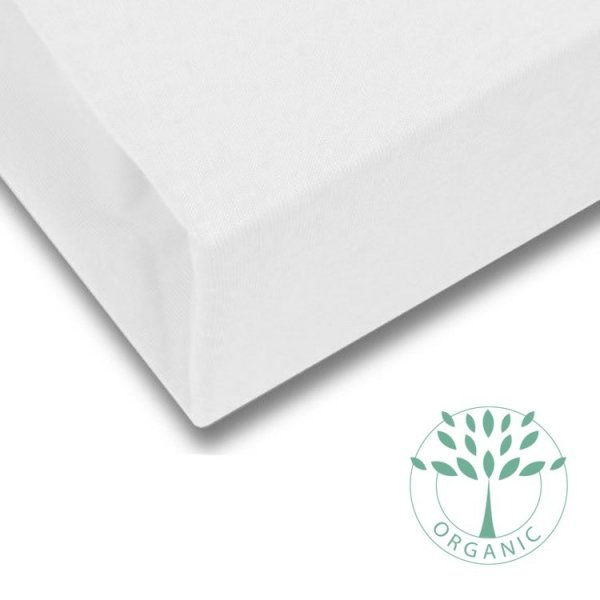 Toddler Bed Fitted Mattress Sheet in Off-White from Petite Amélie