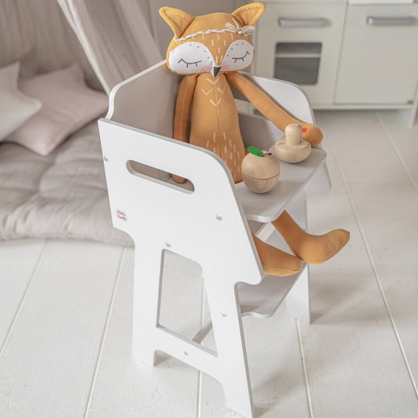 Wooden Dolls Highchair Colombe in Soft Grey from Petite Amélie