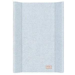 Baby Changing Mat with Knitted Print in Blue from Petite Amélie