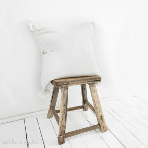 Berber Cushion Cover in White Cotton