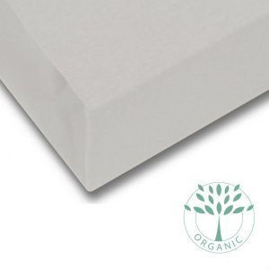Organic Cotton Baby Cot Mattress Sheet in Taupe from Petite Amélie