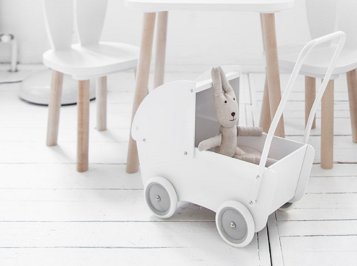 Wooden Dolls Pram in White