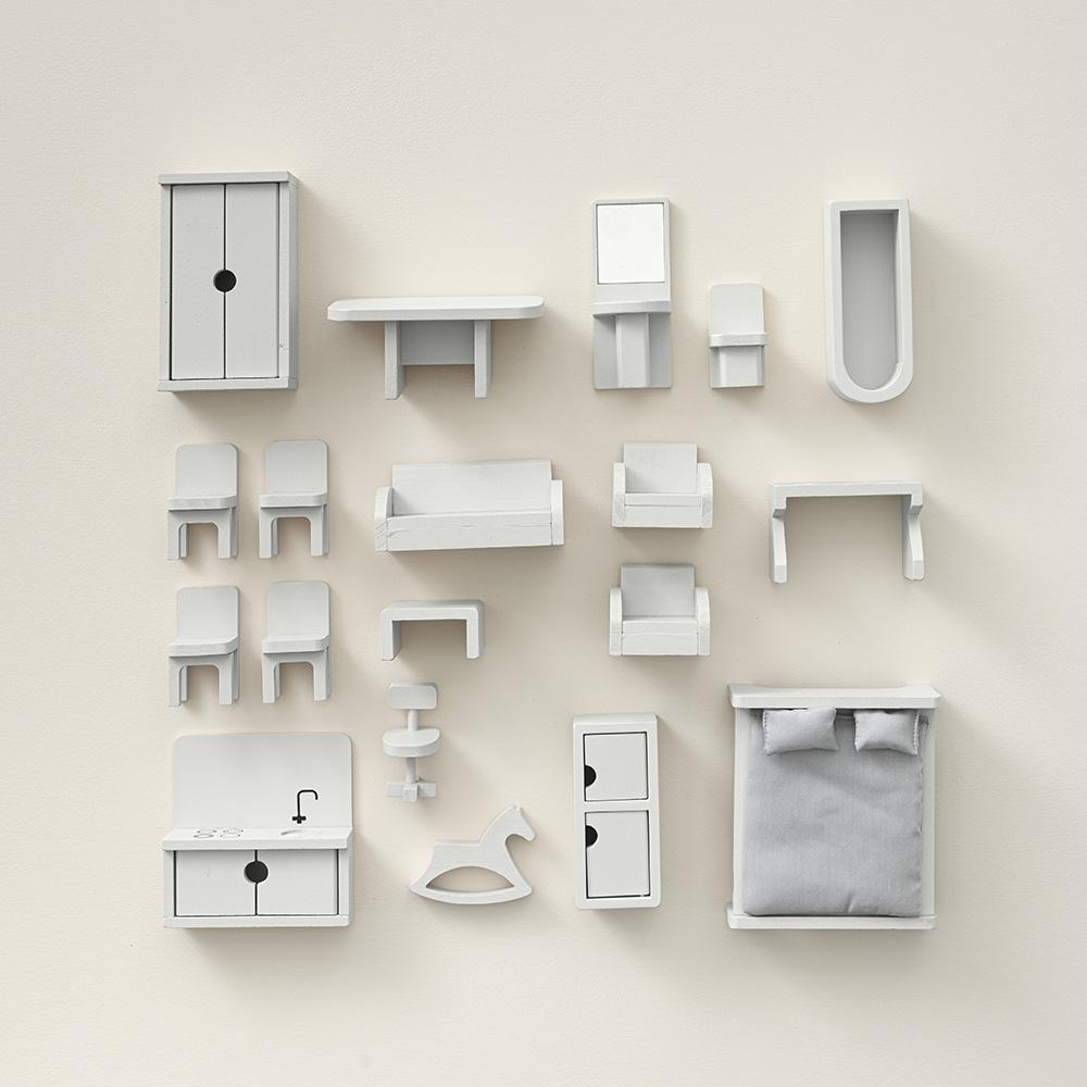 19 piece grey doll house furniture set