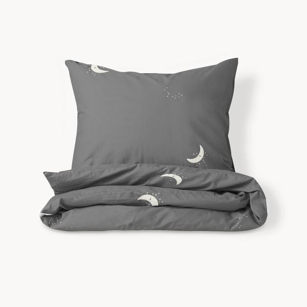 toddler bed duvet dark grey with moon print