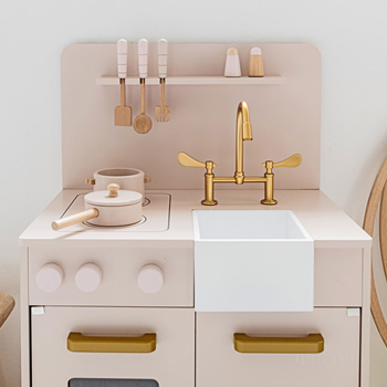 Wooden Toy Kitchen in Soft Pink